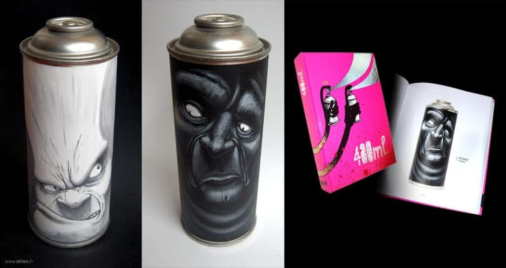 Custom d'une bombe de peinture - Expo collective et parution dans le livre (éd. Kitchen93)<br/> Acrylique sur sticker + vernis<br/> 2009