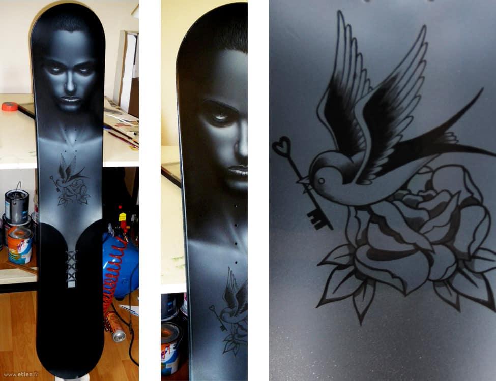 Peinture sur Snowboard<br/> Aérographe et acrylique<br/> 2012
