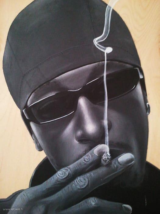 Acrylique sur bois - Bounty Killer (détail)<br/> 50cm x 70cm<br/> 2003