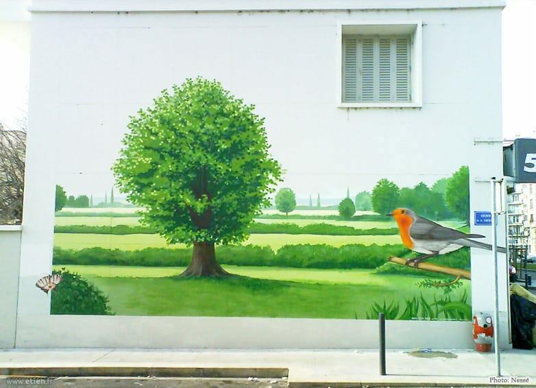 Façade de copropriété - <em>Réalisé avec Nessé et Diseck</em><br/> Acrylique façade - 20m2 env.<br/> Grenoble (38) - 2009