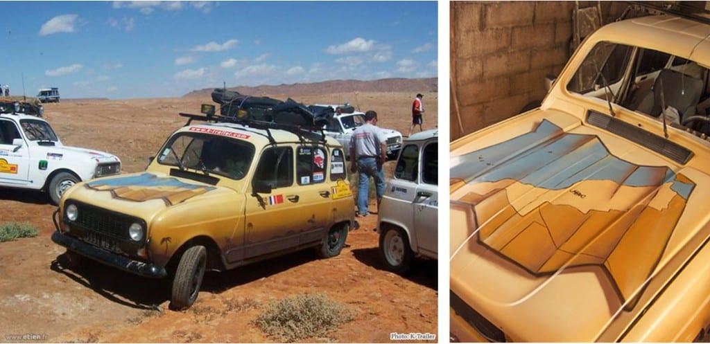 Décoration de la 4L des K-Trailers<br/> Aérosol<br/> Vif (38) / Maroc - 2007