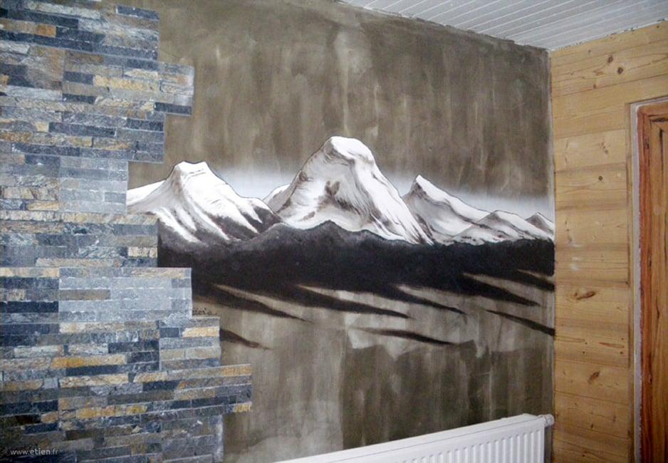 Montagnes du Vercors<br/> Laque satinée, aérosol - 2m2 env.<br/> Lans en vercors - 2010