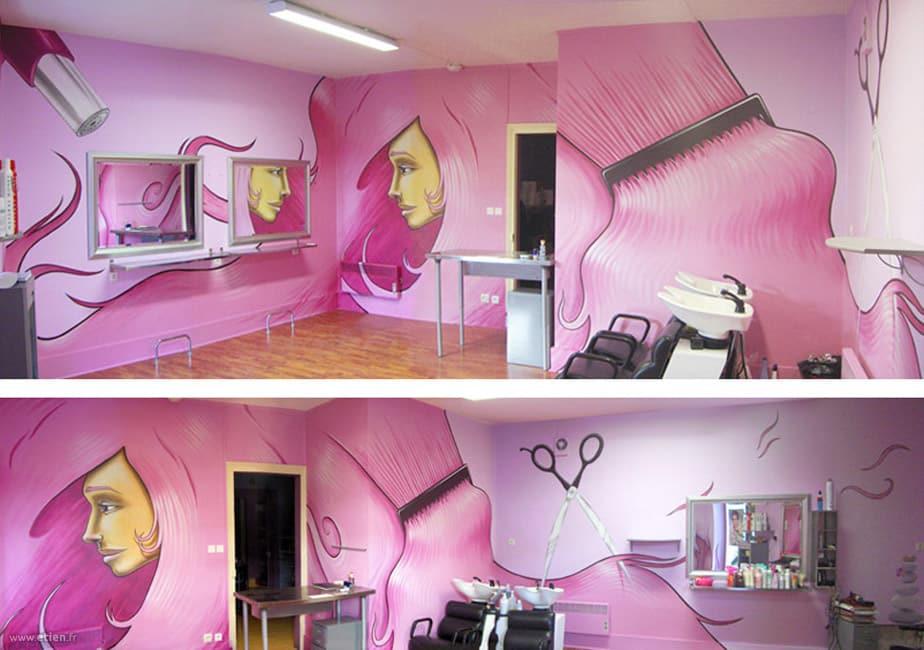Intérieur du salon Laurence coiffure<br/> Aérosol et acrylique - 50m2 env.<br/> La Frette (38) - 2008