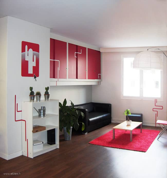 """Décoration intérieure des locaux de <a href=""""http://mezcalito.fr"""">Mezcalito</a><br/> Acrylique sur mur, PVC et toiles<br/> Grenoble (38) - 2008"""