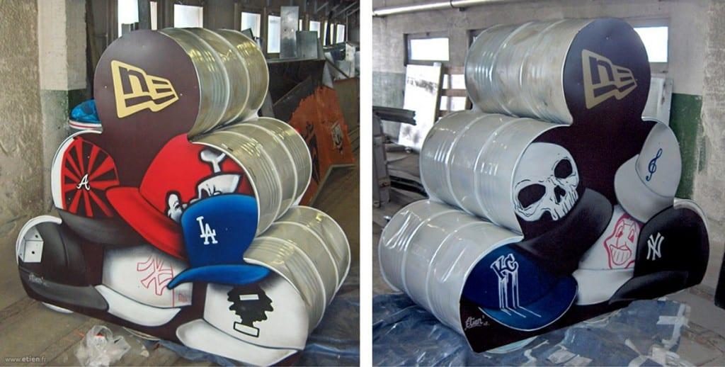 """Peinture sur PVC découpé - Mondial du snowboard 07 - <em>Client: <a href=""""http://www.neweracap.co.uk/france/"""" target=""""_blank"""">New Era</a> </em><br/> Aérosol - 7m2 env.<br/> Les 2 Alpes (38) - 2008"""