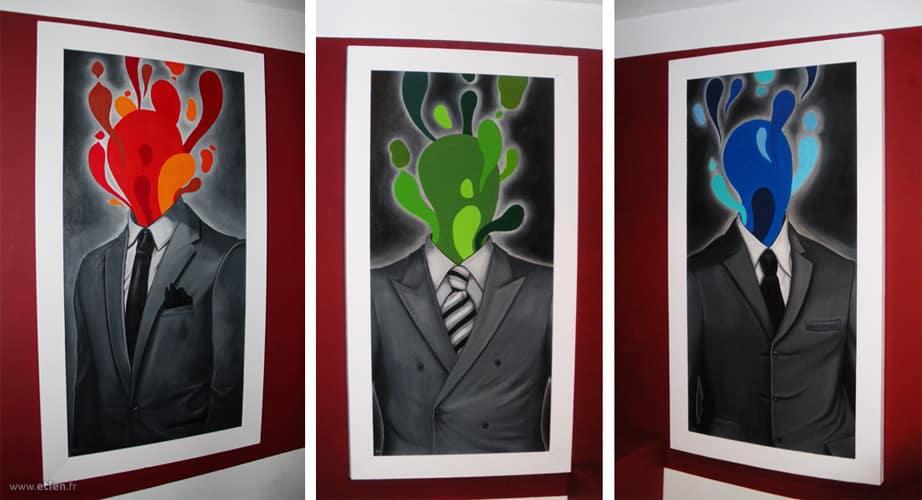 Acrylique sur toile<br/> 1m x 50cm par toile<br/> 2012