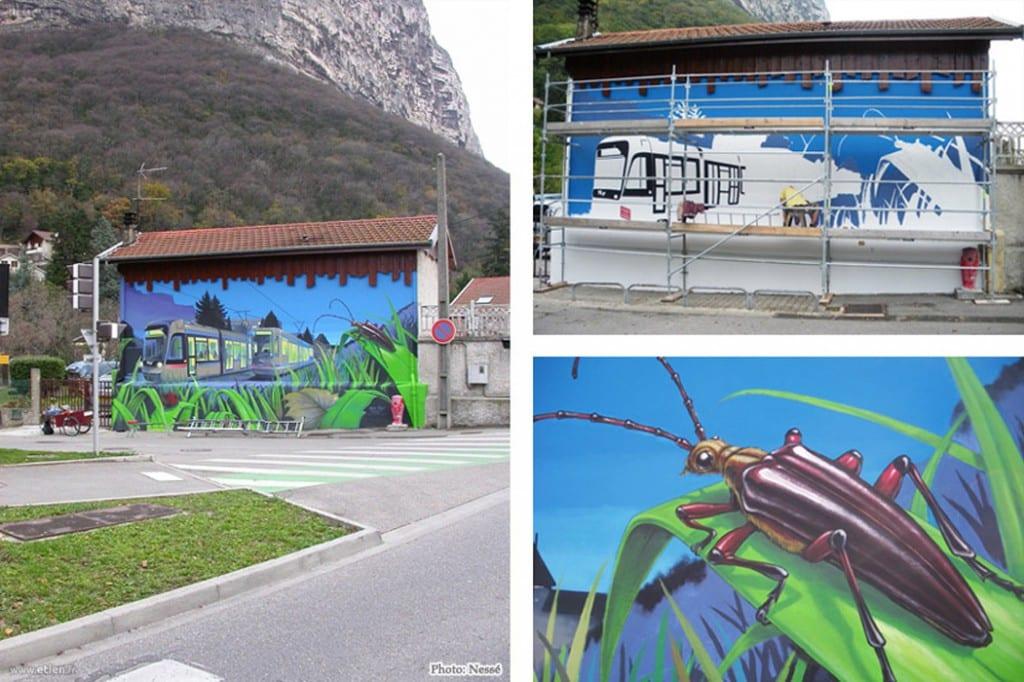 Façade de maison (détails) - <em>Réalisé avec Nessé</em> <br/> Acrylique façade - 50m2<br/> St Martin le Vinoux (38) - 2009