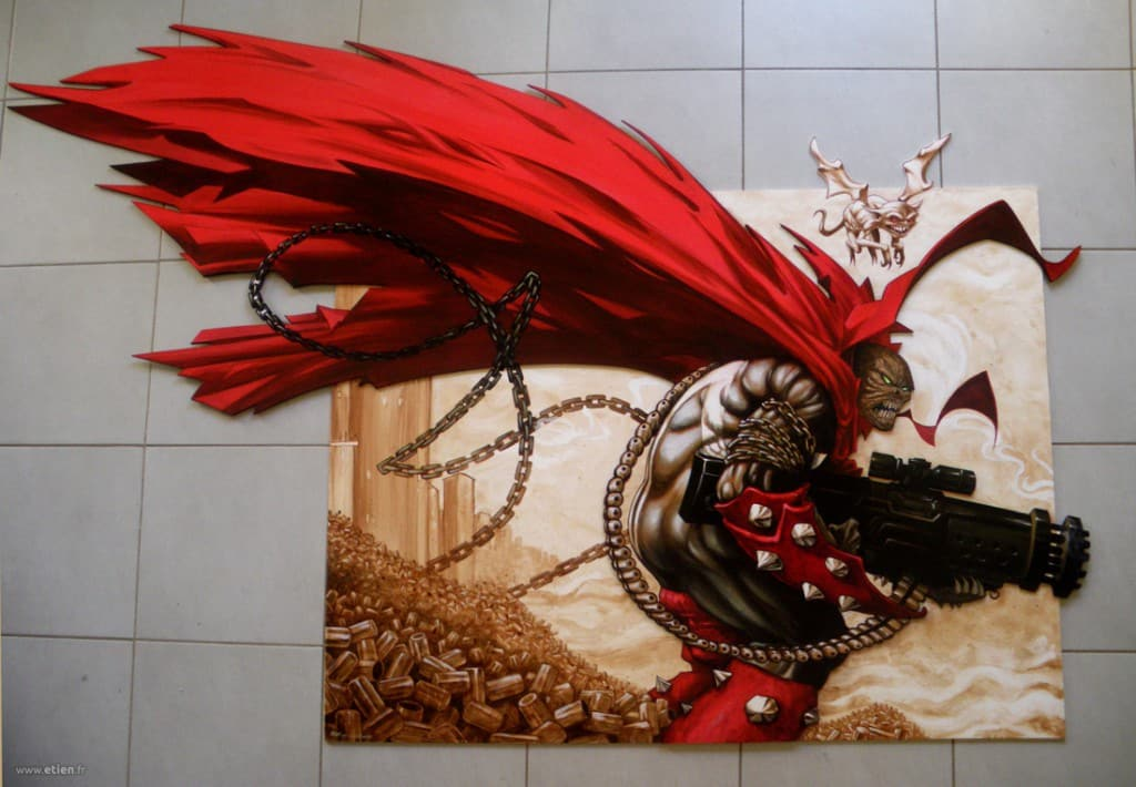 """Acrylique sur PVC découpé - <em> <a href=""""http://etien.fr/angry-spawn/"""" target=""""_blank"""">Plus de photos</a></em><br/> 2m x 1m50<br/> Claix (38) - 2011"""