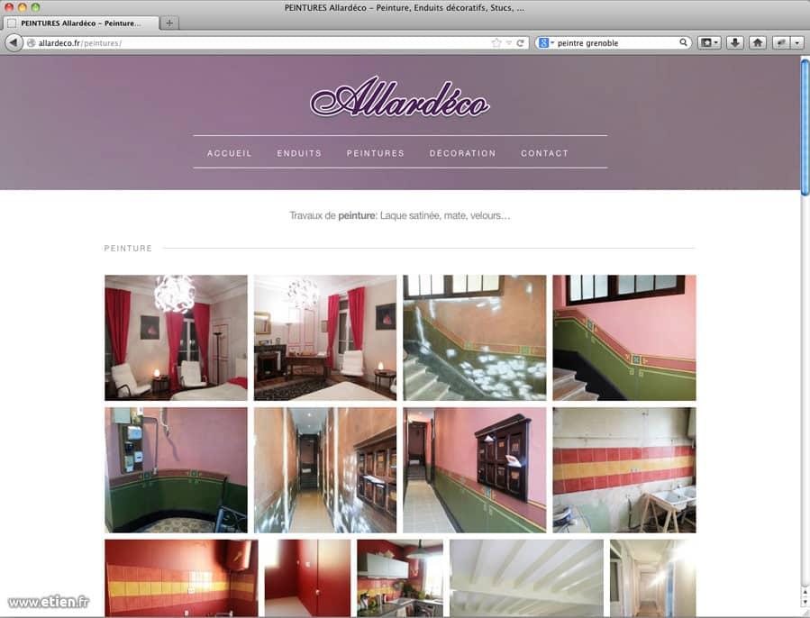 """Webdesign pour l'entreprise Allardéco<br/> <a href=""""http://allardeco.fr/"""" target=""""_blank"""">Voir le site</a><br/> 2014"""