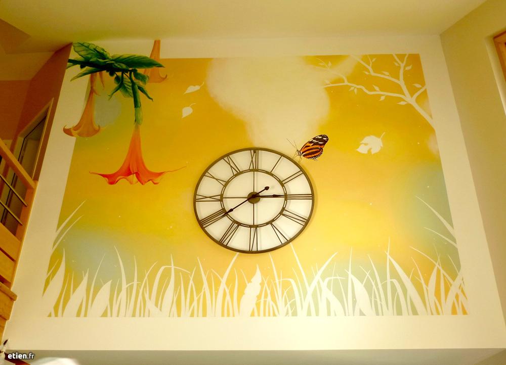 """Fresque chez des particuliers<br/> Acrylique - 9m2 env.<br/> Saint-Pancrasse (38) - 2015 - <em><a href="""" http://etien.fr/fresque-pour-particuliers/"""" target=""""_blank"""">voir + de photos</a></em>"""