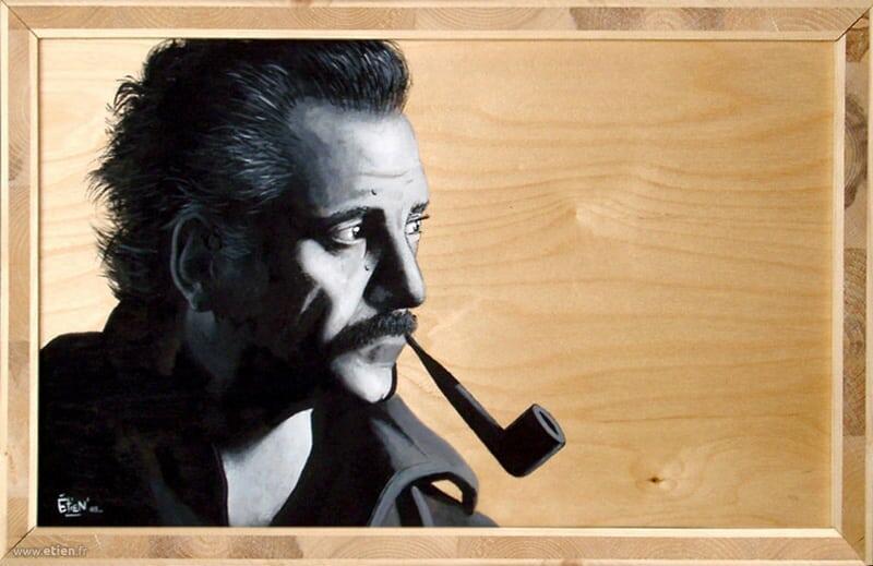 Acrylique sur bois - Georges Brassens<br/> 50cm x 30cm<br/> 2003