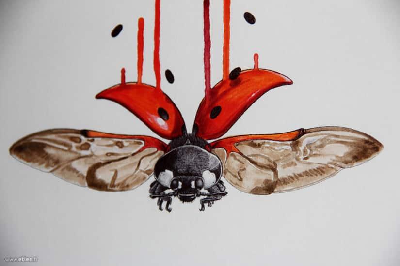 Acrylique et stylo bille sur papier 20x30cm (détail)<br/> 2012
