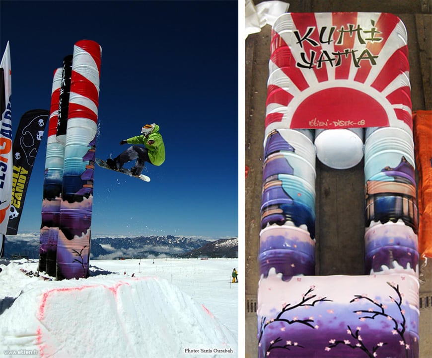 déco peinte sur modules snowboard Kumi Yama