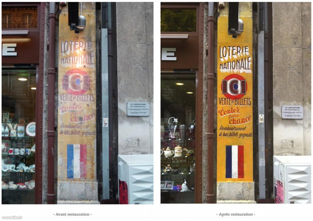 Restauration d'une peinture murale d'après-guerre pour la Française des jeux<br/> Fixateur, enduit extérieur, acrylique façade et vernis - 2,50m2 env.<br/> Grenoble (38) - 2012