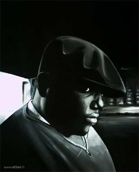 Acrylique sur bois - Notorious Big<br/> 30cm x 65cm<br/> 2004