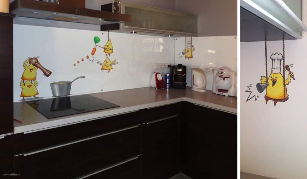 Décoration de cuisine chez particulier<br/> Acrylique sur toile de verre<br/> Jonzier (74) - 2011