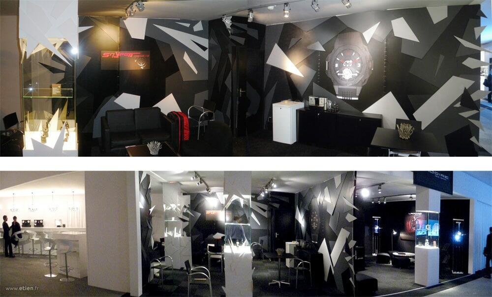 """Décoration de stand BaselWorld 2011(détails)- Montres<a href=""""http://www.snyperwatches.com"""" target=""""_blank"""">Snyper</a> - <em>Réalisé avecTommy-K</em><br/> Acrylique sur carton plume - 35m2 env.<br/> Bâle (suisse) - 2011"""