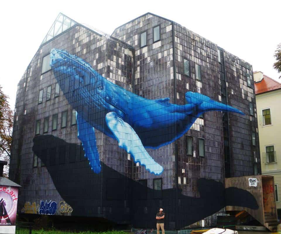 """Anamorphose Baleine à bosses - Réalisée dans le cadre de l'exposition StreetArt 2.0<br/> Aérosol - 180m2 env.<br/> Zagreb, Croatie - 2015 - <em><a href=""""https://etien.fr/anamorphose-baleine/"""" target=""""_blank"""">voir + de photos</a></em>"""