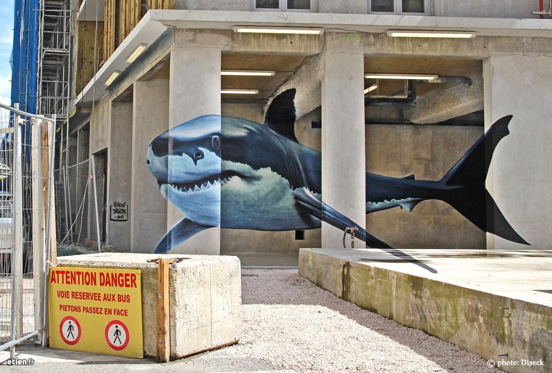 """Anamorphose Requin blanc - Réalisé avec Diseck > GrenobleStreetArtFest #01<br/> Acrylique et aérosol - 25m2 env.<br/> Grenoble (38) - 2015 - <em><a href=""""https://etien.fr/anamorphose-requin-blanc/"""" target=""""_blank"""">voir + de photos</a></em>"""