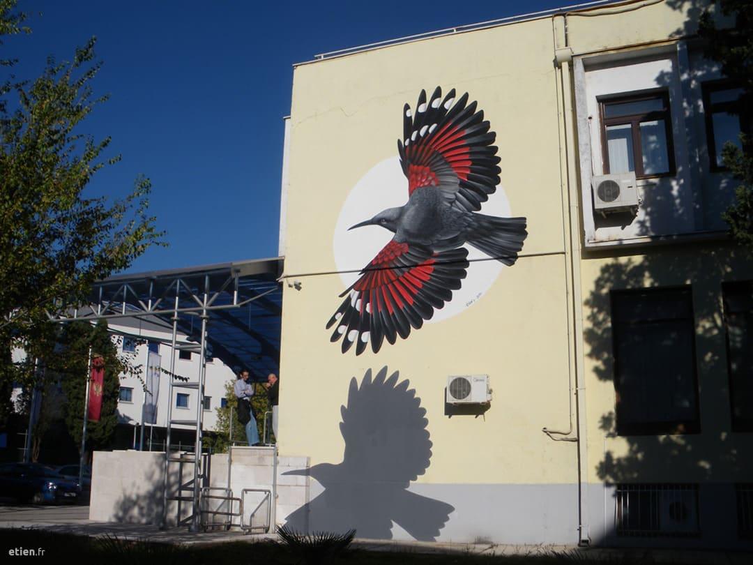 """Façade du Centre Culturel de Podgorica<br/> Acrylique - 35m2 env.<br/> Monténégro - 2015 - <em><a href="""" https://etien.fr/facade-au-montenegro/"""" target=""""_blank"""">voir + de photos</a></em>"""