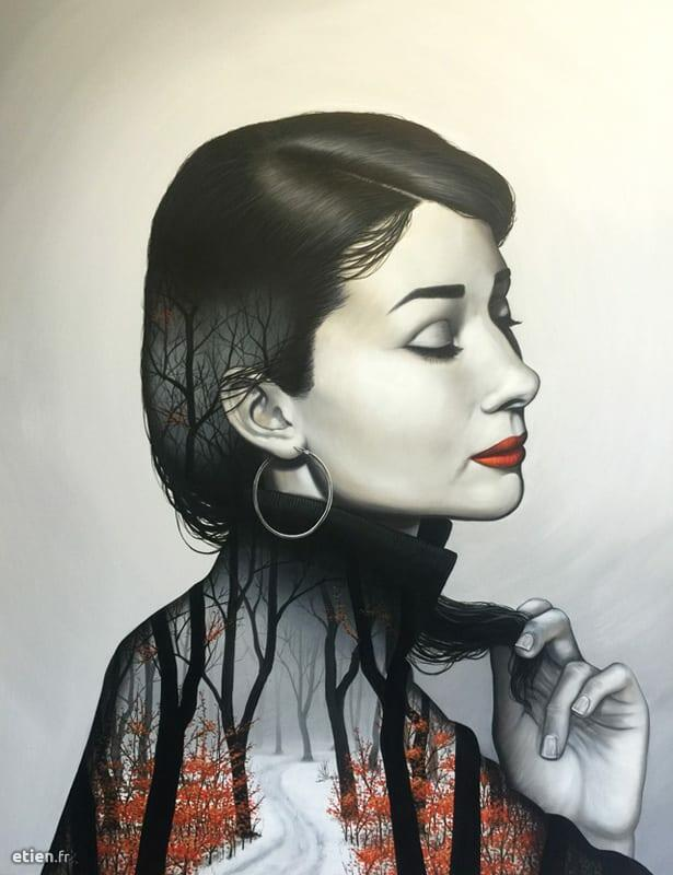 """Portrait<br/> Acrylique, huile et aérosol - 1m46 x 1m16<br/> 2016 - <em><a href=""""https://etien.fr/portrait/"""" target=""""_blank"""">voir + de photos</a></em>"""