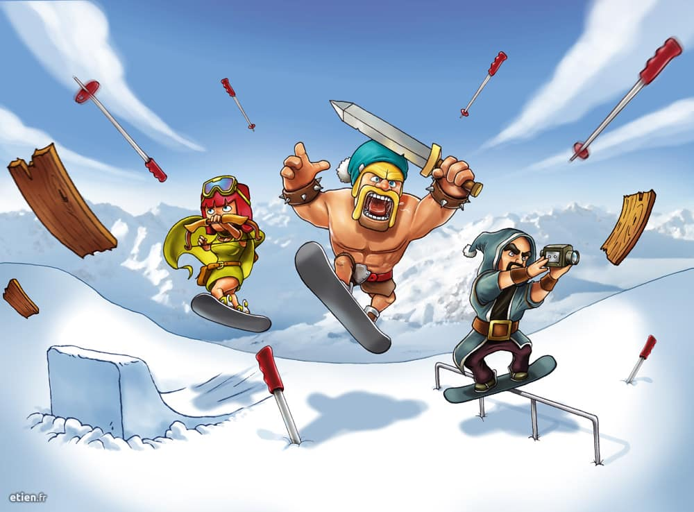 "Illustration pour un contest de snowboard ""Clash of Camps"" - Les 2 Alpes<br/> PShop - 2016"