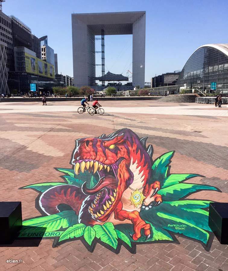 anamorphose au sol pour le jeu vidéo Hearthstone, édité par Blizzard, parvis de la Défense Paris