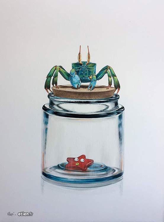 """Acrylique sur toile</br> 80cm x 60cm</br> 2017 - <a href=""""https://etien.fr/boutique/bocal-crabe/"""">Disponible</a>"""