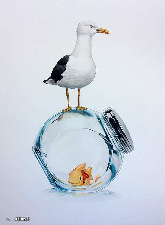 """Acrylique sur toile</br> 80cm x 60cm</br> 2017 - <a href=""""https://etien.fr/boutique/bocal-mouette/"""">Disponible</a>"""