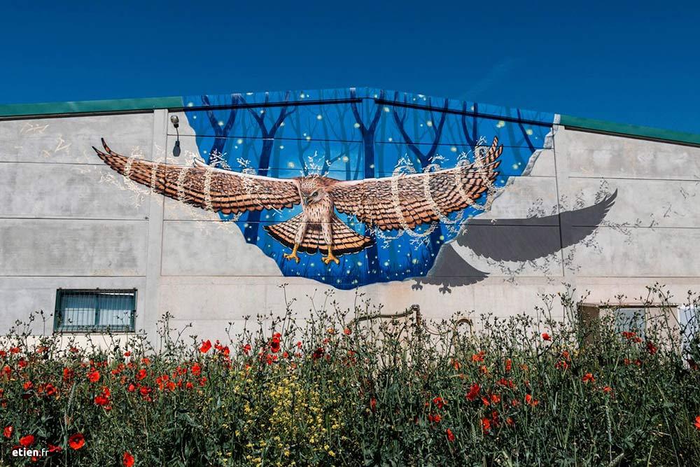 fresque murale faucon pour le Gargar festival, Penelles, Espagne