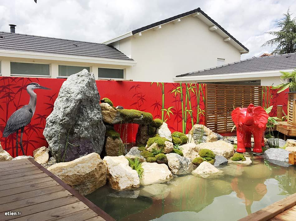 Décor en trompe l'œil réaliste, décor de piscine pour un particulier.