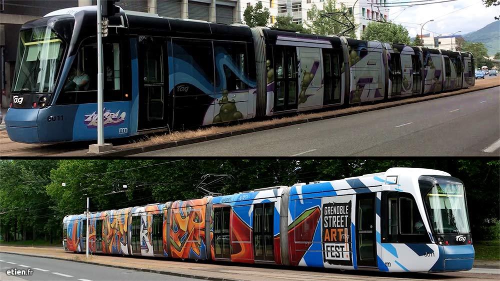 """Graffiti sur tramway - Réalisé avec Nasde et Spher > GrenobleStreetArtFest #03<br/> Aérosol - 150m2/face env.<br/> Grenoble (38) - 2017 - <em><a href=""""https://etien.fr/graffiti-tramway-gsaf-03/"""" target=""""_blank"""">voir + de photos et la vidéo</a></em>"""