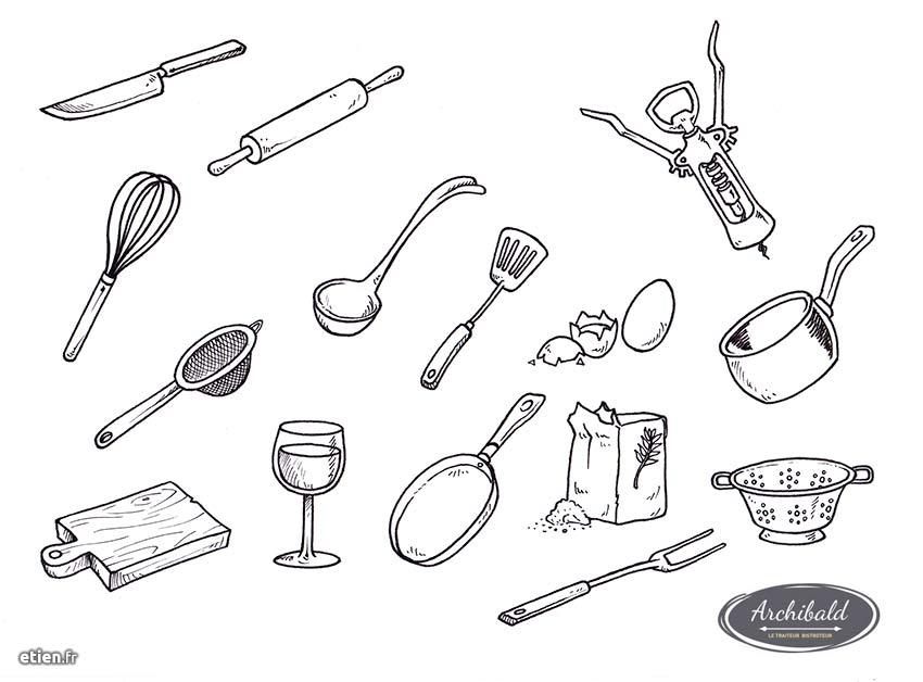"""Illustration pour le traiteur bistroteur <a href=""""http://www.archibald-traiteur.fr/"""" target=""""_blank"""">Archibald</a><br/> 2017"""