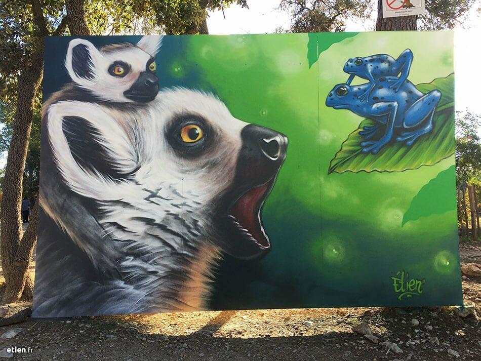 Performance peinture live, zoo du lunaret, montpellier. Makis et azureus.