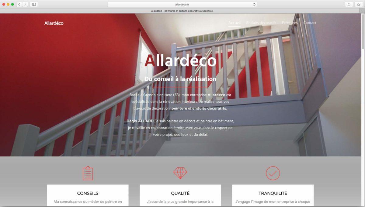 """Webdesign pour l'entreprise Allardéco<br/> <em><a href=""""http://allardeco.fr/"""" target=""""_blank"""">voir le site</a></em><br/>2017"""
