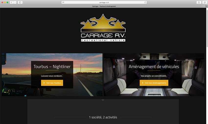 """Webdesign pour l'entreprise Carriage<br/> <em><a href=""""http://carriage-rv.fr/"""" target=""""_blank"""">voir le site</a></em><br/>20157"""