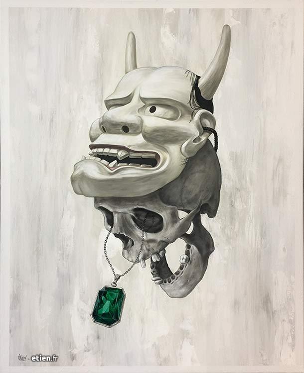 """Acrylique sur toile</br> 1m x 80cm</br> 2017 - <a href=""""https://etien.fr/boutique/skull-diamant/"""">Disponible</a>"""