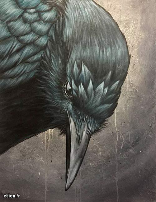 """Corbeau<br/> Acrylique sur toile - 50cm x 70cm<br/> 2017 - <a href=""""https://etien.fr/boutique/corbeau/"""">Disponible</a>"""
