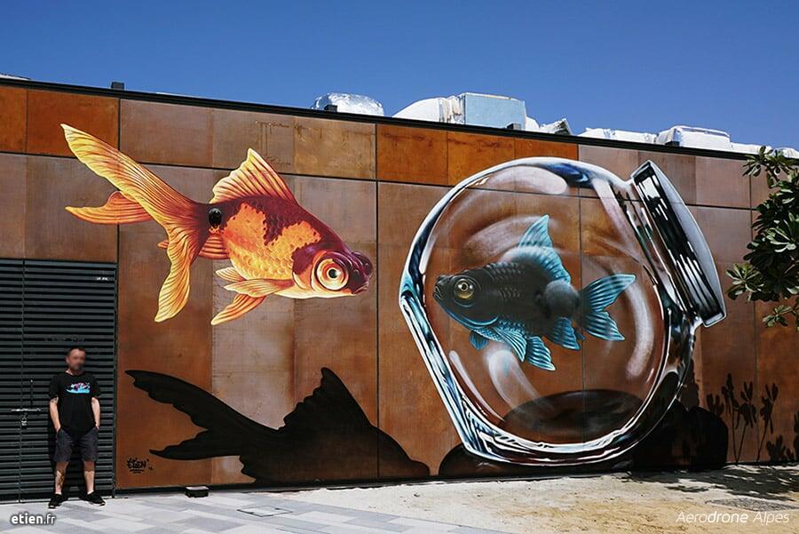 Trompe l'œil représentant des poissons Dubai Canvas festival