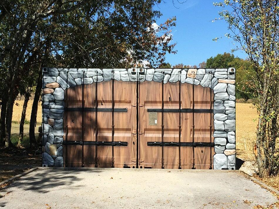 Fresque porte en bois
