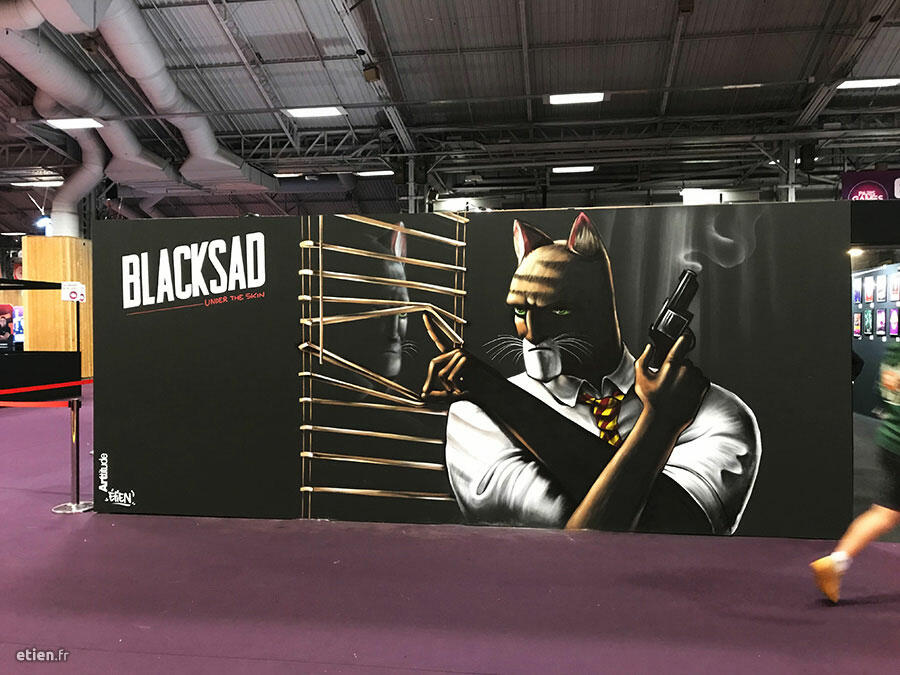 "Performance Blacksad réalisée lors de la <a href=""https://www.parisgamesweek.com/"" target=""_blank"" rel=""noopener noreferrer"">Paris Games Week</a><br/> Curateur : <a href=""http://www.therealarttitude.com/"" target=""_blank"" rel=""noopener noreferrer"">ARTtitude</a> / Client : <a href=""https://www.microids.com/fr/"" target=""_blank"" rel=""noopener noreferrer"">Microids</a> - Aérosol - 12 m2 env.<br/> Porte de Versailles (Paris) - 2019 - <em><a href=""https://etien.fr/paris-games-week-blacksad/"" target=""_blank"" rel=""noopener noreferrer"">voir + de photos</a></em>"