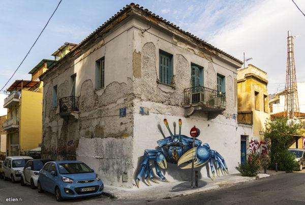 fresque sur mur peinte à athènes