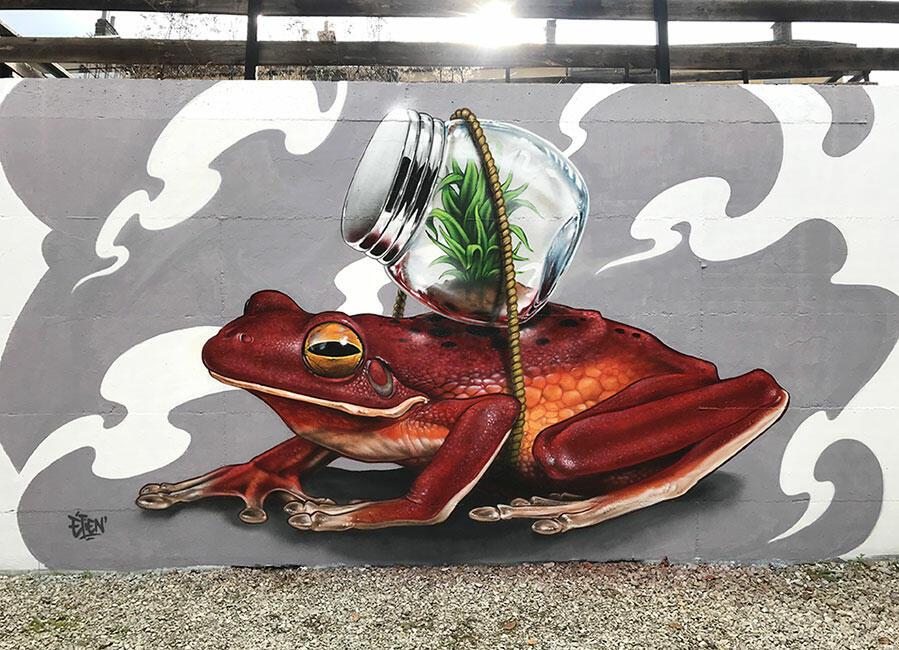 fresque murale extérieur réaliste grenouille
